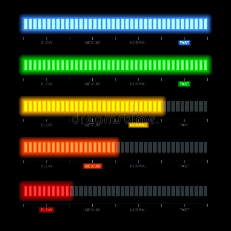 套显示infographics的信用评分测量仪描述 皇族释放例证