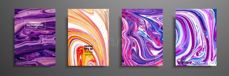 套普遍传染媒介卡片 液体大理石纹理 邀请的,招贴,小册子,海报,横幅五颜六色的设计 皇族释放例证