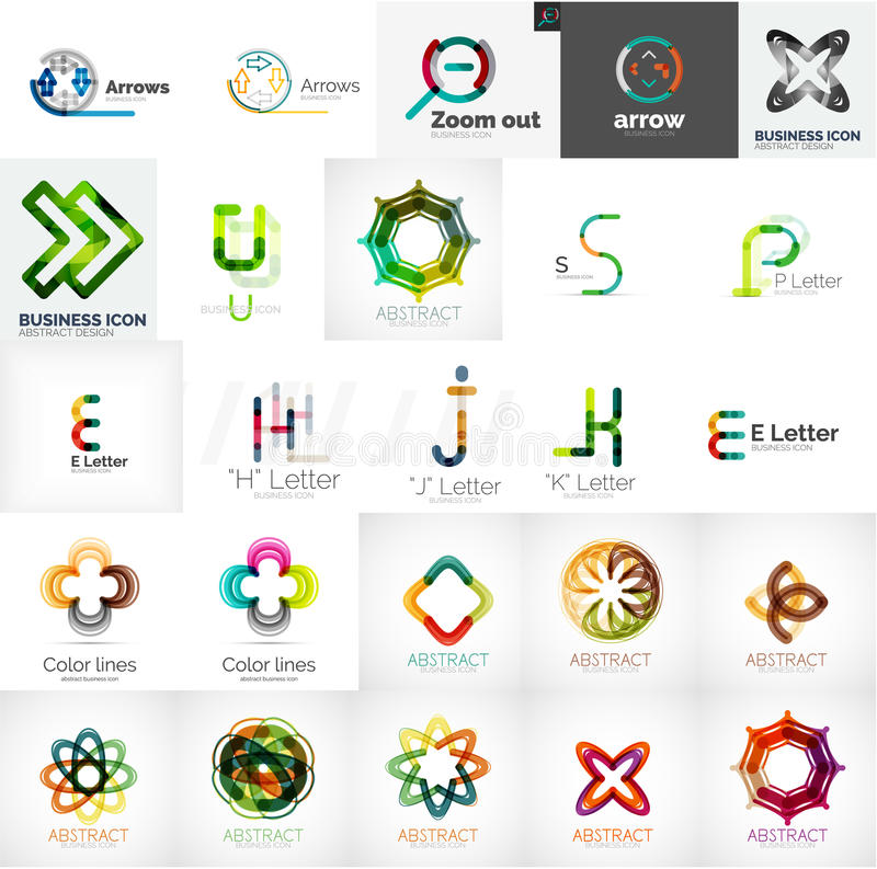 套普遍公司商标和设计元素 向量例证