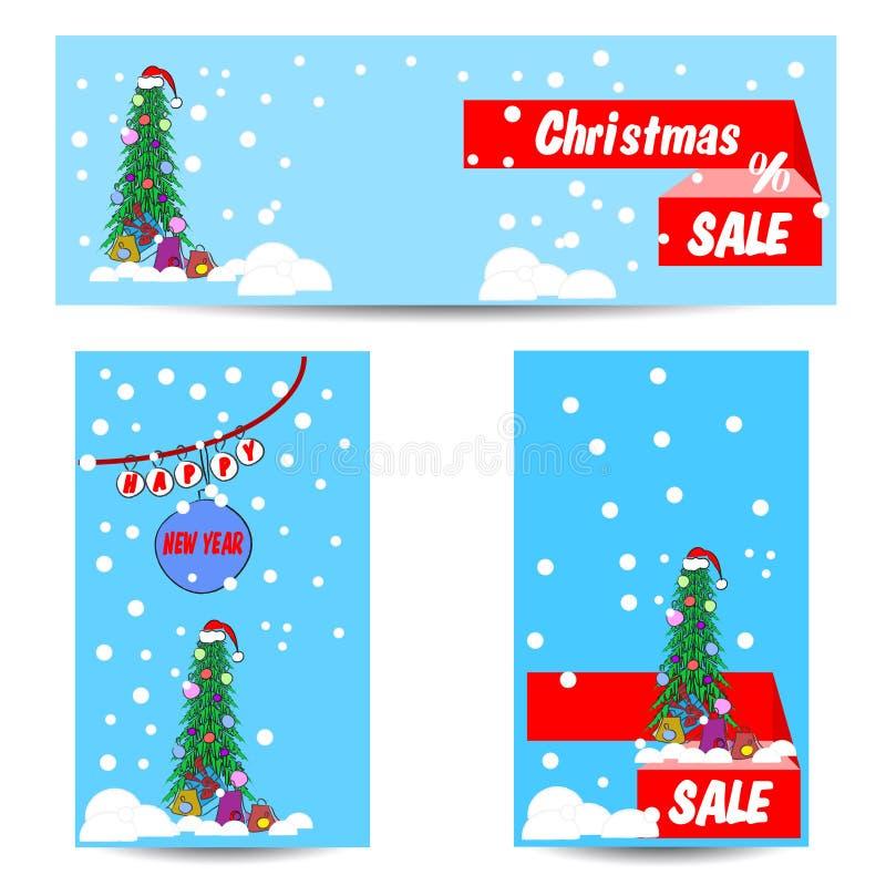 套普遍卡片圣诞节和新年 库存例证