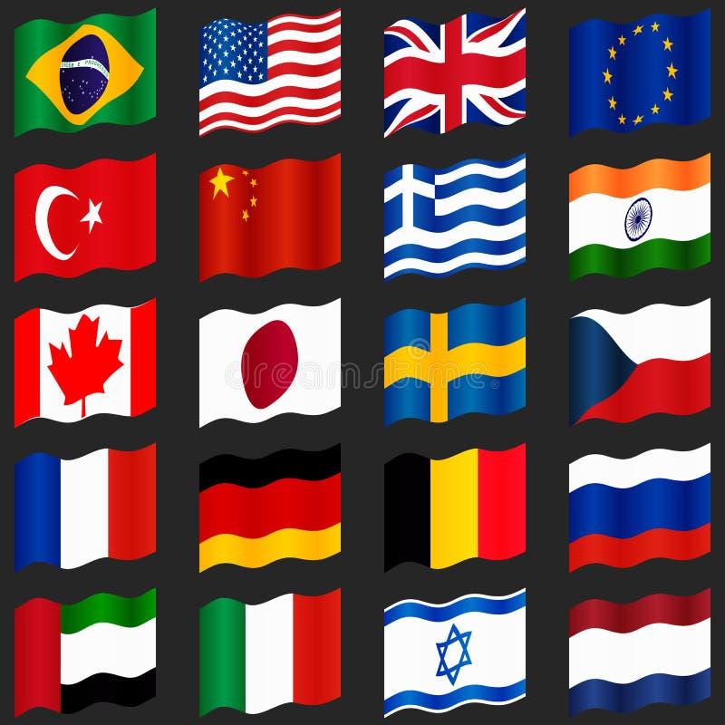 套普遍的国旗 挥动的标志 向量例证