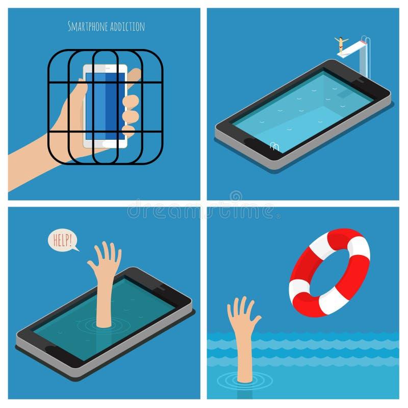 套智能手机瘾概念 皇族释放例证