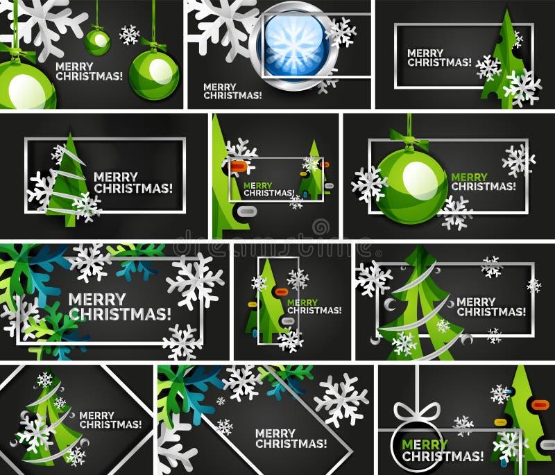 套最小的圣诞节设计模板,几何抽象圣诞树,雪,圣诞节玩具球 库存例证