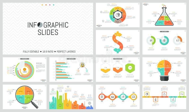 套最小的infographic设计版面 饼和长条图,不同的形状,时间安排七巧板图  向量例证
