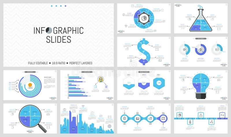 套最小的infographic设计版面 饼和长条图,不同的形状,时间安排七巧板图  库存例证