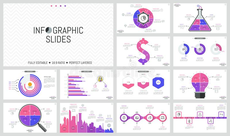 套最小的infographic设计版面 饼和长条图,不同的形状,时间安排七巧板图  皇族释放例证