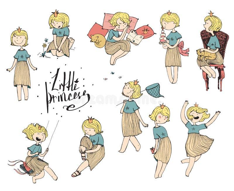 套有冠的五颜六色的乱画女孩在头 嬉戏的逗人喜爱的公主,乐趣手拉的例证 各种各样的情感和 向量例证