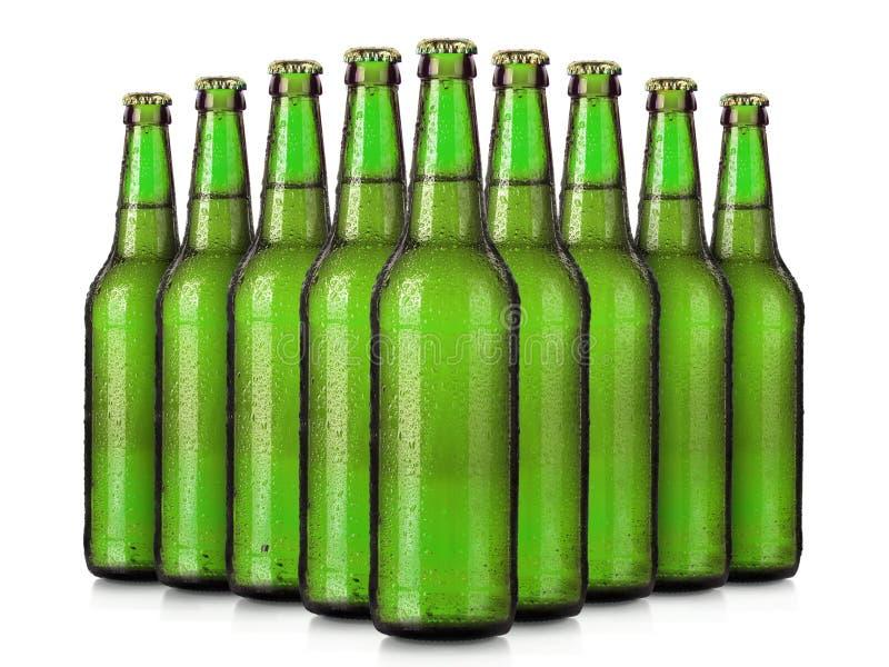 套有冷淡的下落的啤酒瓶被隔绝的 免版税库存照片