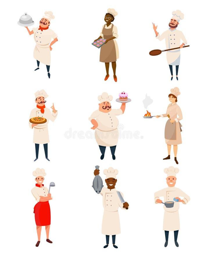 套有厨具的餐馆厨师和盘在手上 专业厨房工作者 男人和妇女字符 向量例证
