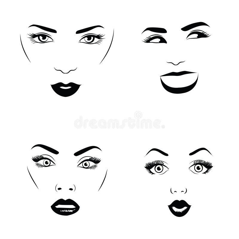 套有吸引力的女性面孔 不同的情感 也corel凹道例证向量 皇族释放例证
