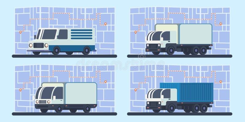 套有地图和路线运输的送货卡车 向量例证