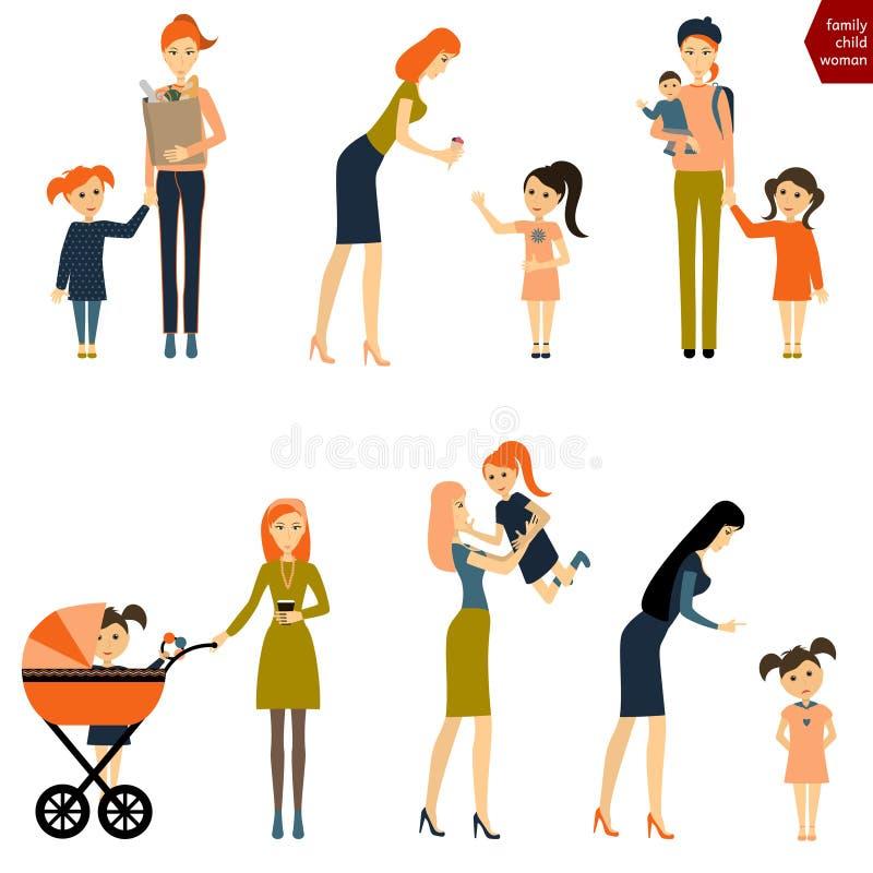 套有孩子的妇女 有婴孩和摇篮车的母亲 向量例证