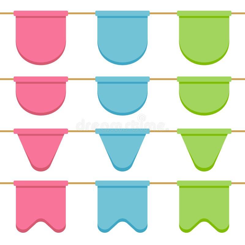 套有庆祝的精密诗歌选下垂链子,桃红色,蓝色,在白色背景的绿色细长三角旗装饰的 库存例证