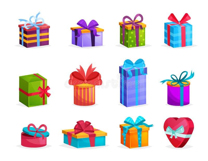 套有弓和丝带的五颜六色的礼物盒 向量例证