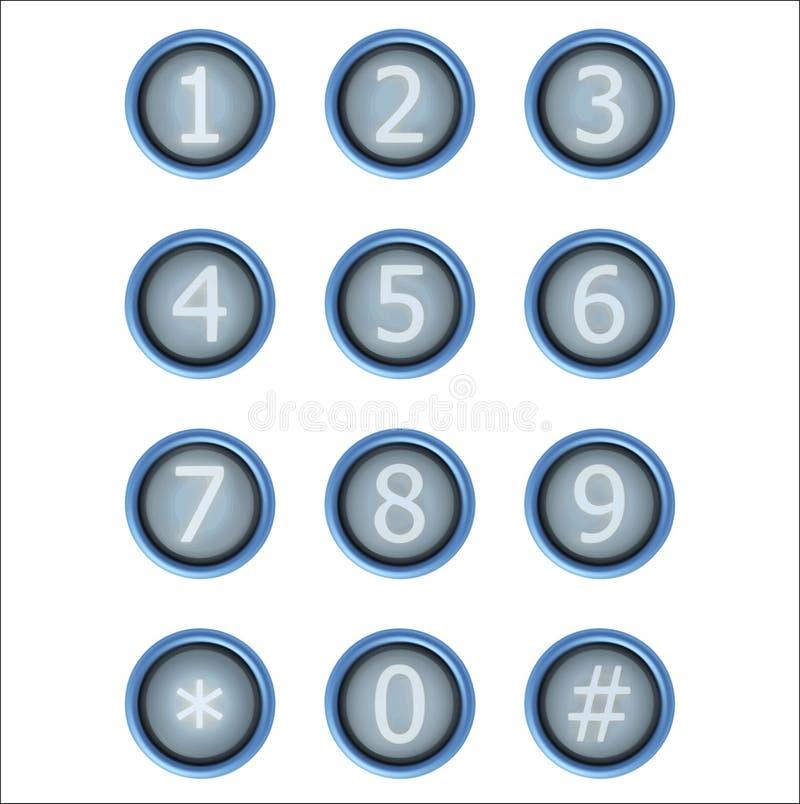 套有数字的按钮 向量例证