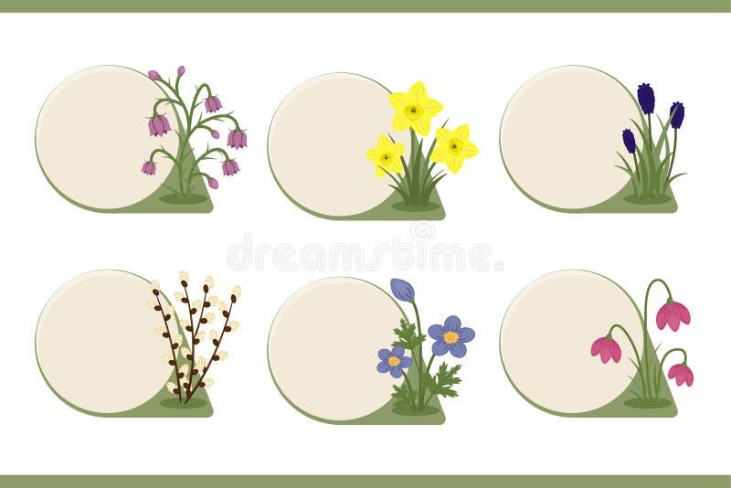 套有春天花装饰的按钮 库存例证