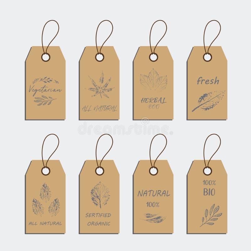 套有机食品标记和标签胶粘物设计元素 皇族释放例证