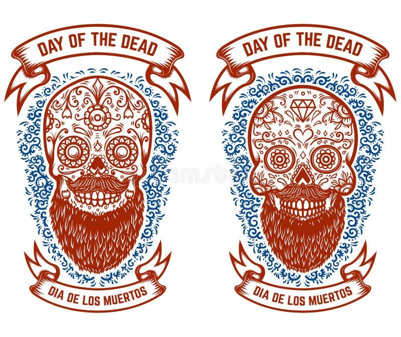 套有样式的有胡子的墨西哥糖头骨 停止的日 设计海报的,贺卡,横幅, T恤杉, flye元素 库存例证