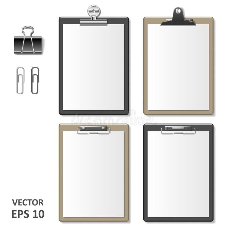 套有空白的白皮书板料的现实剪贴板 笔记薄信息公司本体的委员会模板 向量例证