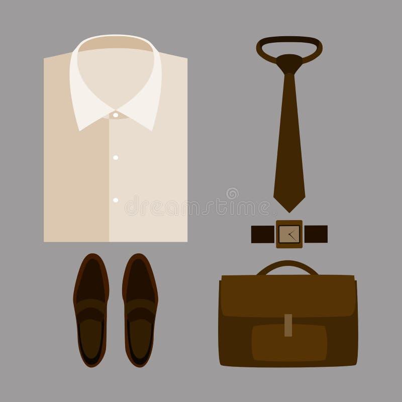 套有米黄衬衣和辅助部件的时髦人的衣裳 库存例证