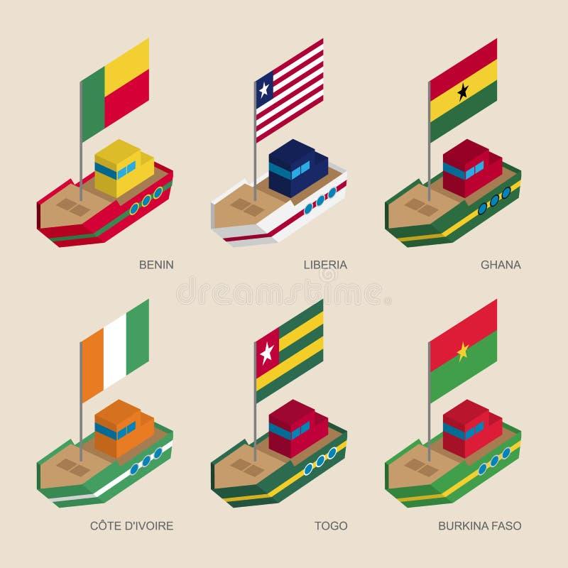 套有非洲国家旗子的等量船  库存例证