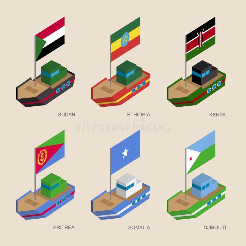 套有非洲国家旗子的等量船  向量例证