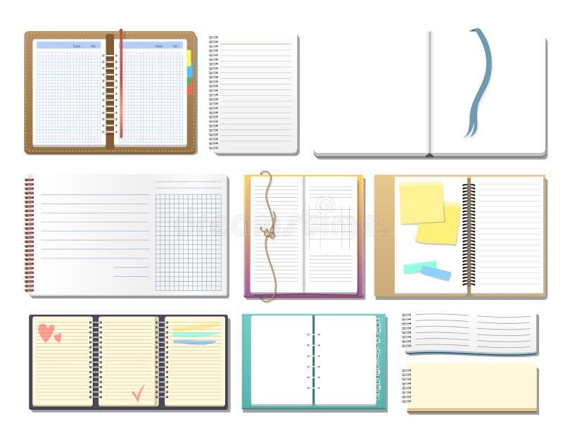 套有页日志办公室板料模板小册子和白纸教育习字簿的开放现实笔记本 库存例证