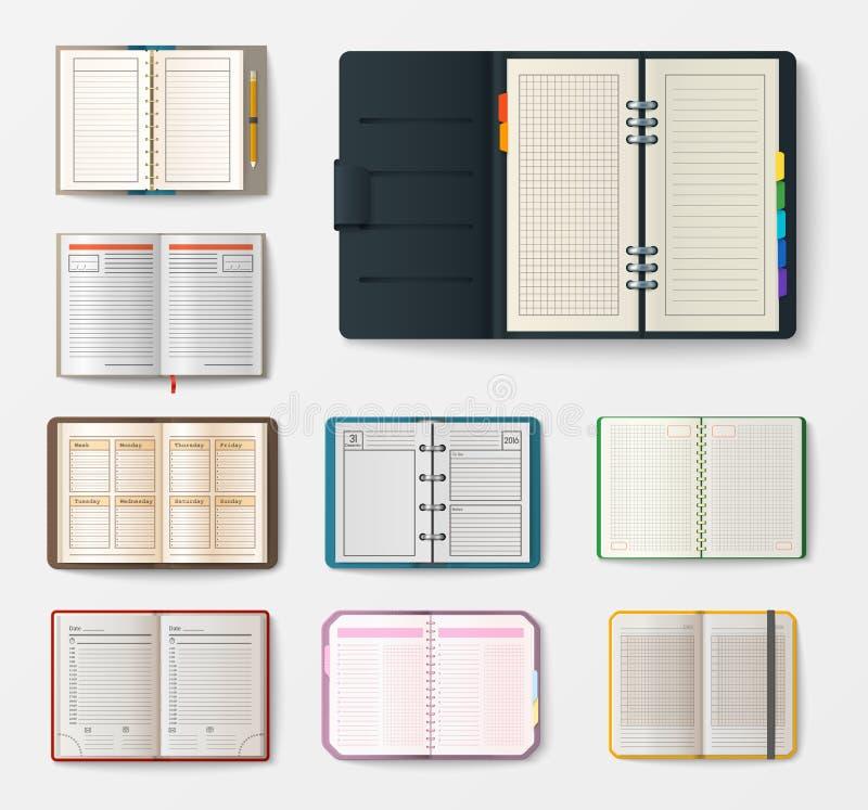 套有页日志办公室板料模板小册子和白纸教育习字簿的开放现实笔记本 向量例证