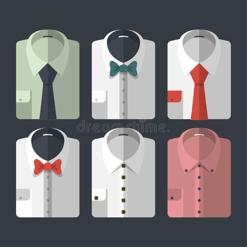 套有领带和bowties的不同的平式衬衣 偶然和事务式 库存图片