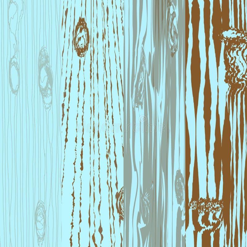 套有结的不同的木板 老绘画 木背景 木纹理 例证 库存例证