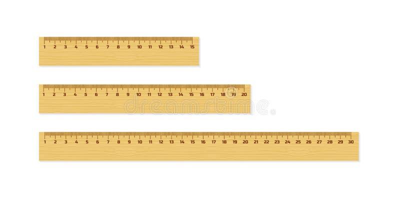 套木统治者与在白色隔绝的阴影的15, 20和30厘米 评定的工具 接近的指南针分度器学校用品 皇族释放例证
