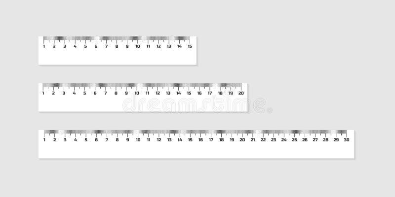 套木统治者与在白色隔绝的阴影的15, 20和30厘米 评定的工具 接近的指南针分度器学校用品 库存例证