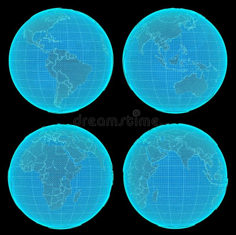 套未来派数字式地球 库存例证