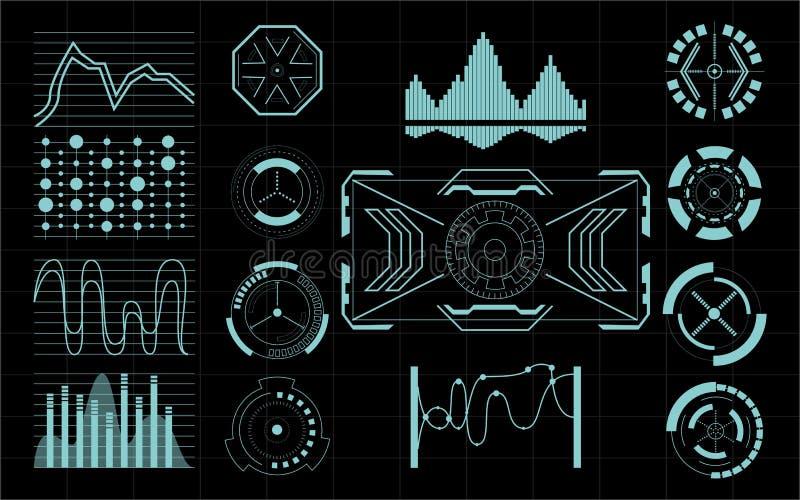 套未来派用户界面元素 皇族释放例证