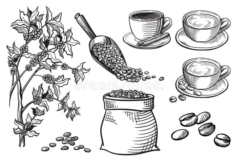 套杯子和咖啡土耳其人 库存例证