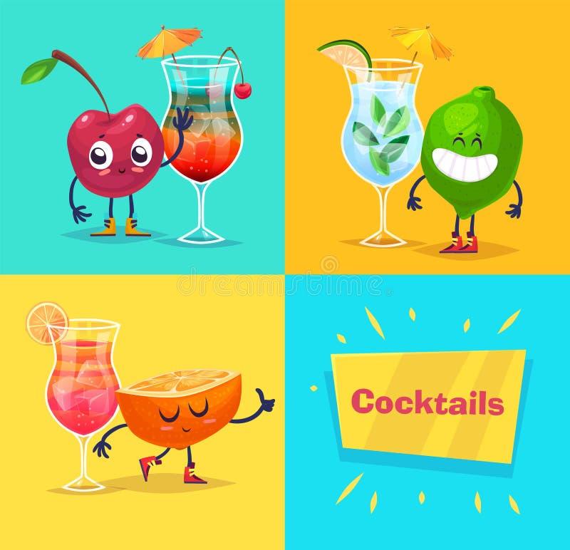 套果子字符和鸡尾酒 逗人喜爱的传染媒介 向量例证
