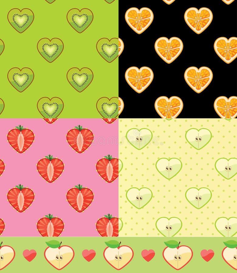 套果子无缝的样式 猕猴桃,桔子,草莓,苹果计算机 向量例证
