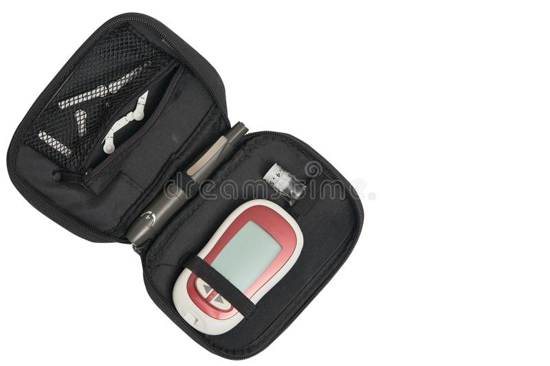套柳叶刀,检查血液glucoxe水平的糖显示器在d 免版税库存照片