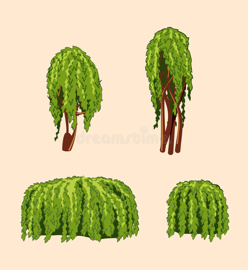 套柳树和灌木 皇族释放例证