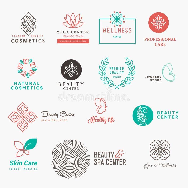 套标签和徽章秀丽、化妆用品、温泉和健康的 皇族释放例证