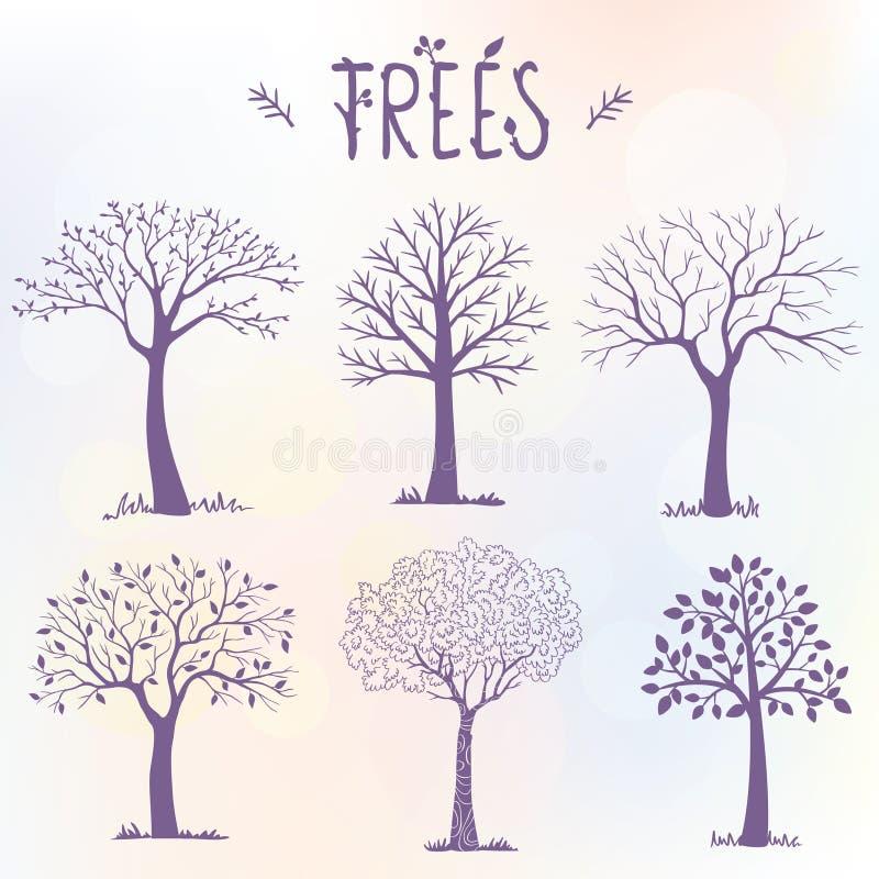 套树剪影 向量例证