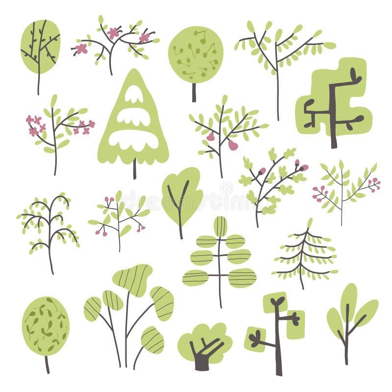 套树和灌木在简单的乱画样式 传染媒介被隔绝的例证 库存例证