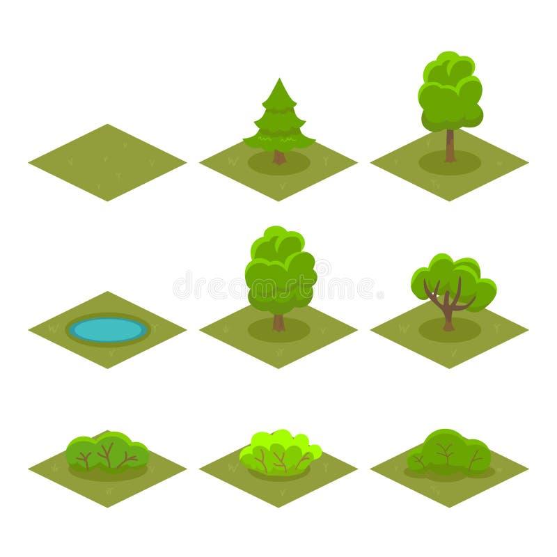 套树和灌木等量样式比赛的 向量 向量例证