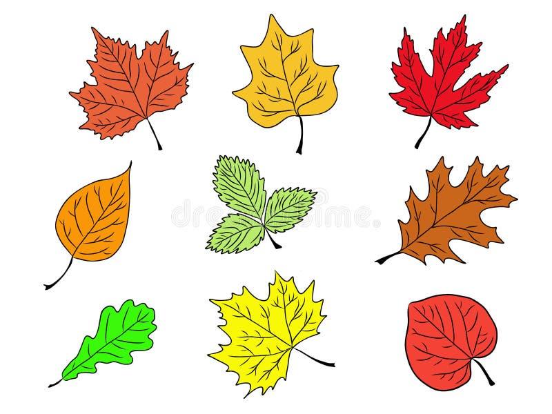 套树离开五颜六色的剪影 向量例证