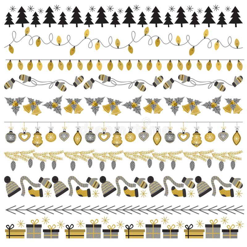 套样式刷子圣诞节金子 库存例证