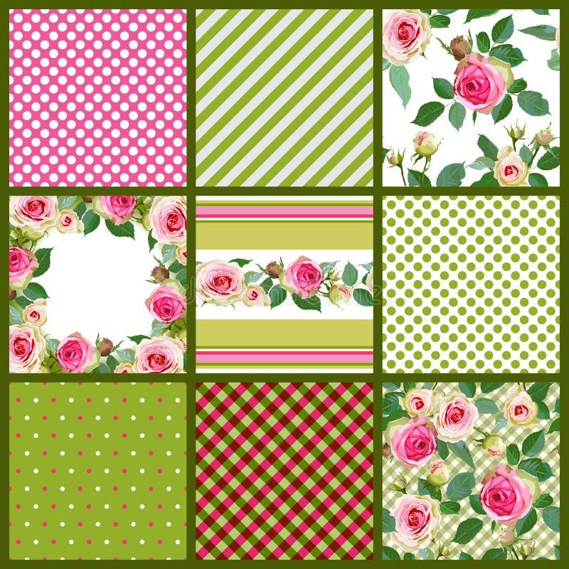 套样式和花卉无缝与玫瑰 向量例证