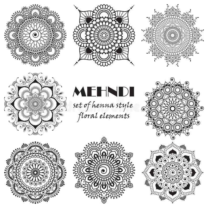 套根据传统亚洲装饰品的无刺指甲花花卉元素 佩兹利Mehndi纹身花刺乱画汇集 向量例证