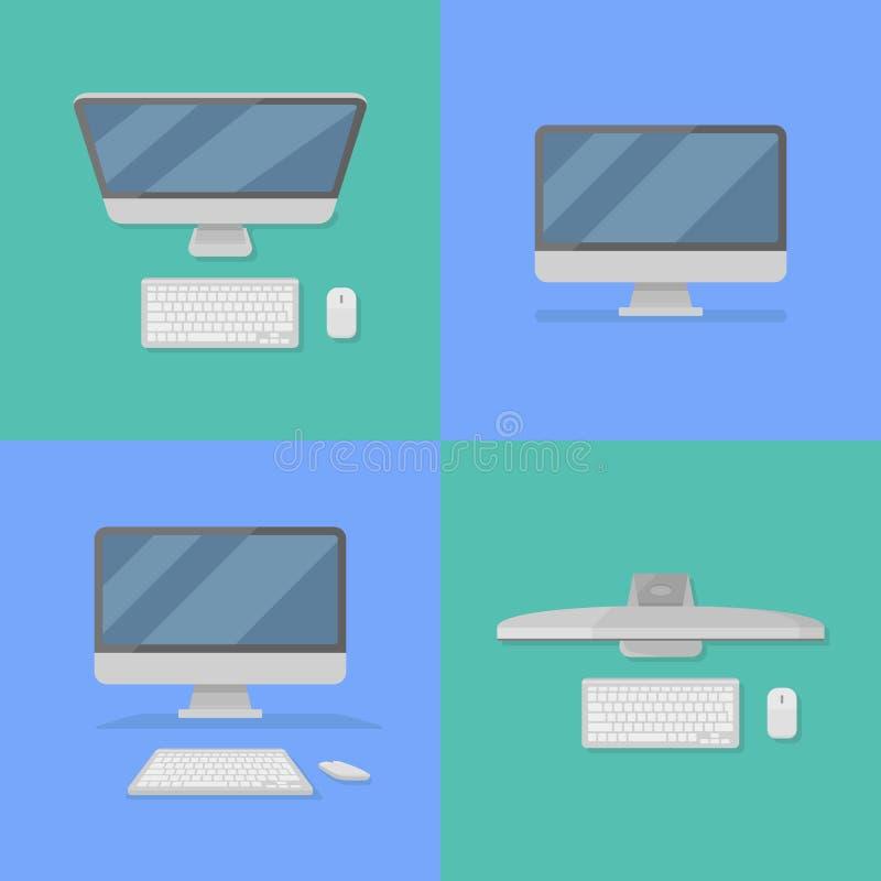 套桌面个人计算机的平的样式象 也corel凹道例证向量 库存例证