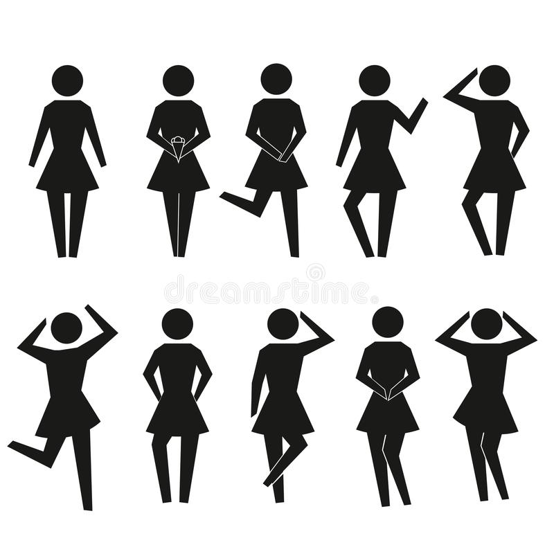 套棍子妇女 棍子女孩剪影汇集 能为apps和网站使用 也corel凹道例证向量 库存例证
