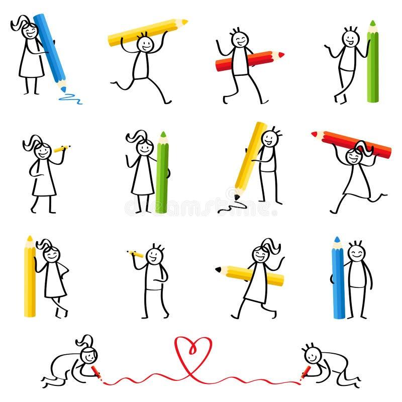 套棍子形象,写棍子的人,拿着的铅笔和蜡笔、笑的男人和的妇女微笑和 向量例证